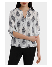 Tokito Petites - Roll Sleeve Collarless Shirt - Romantic Paisley Print