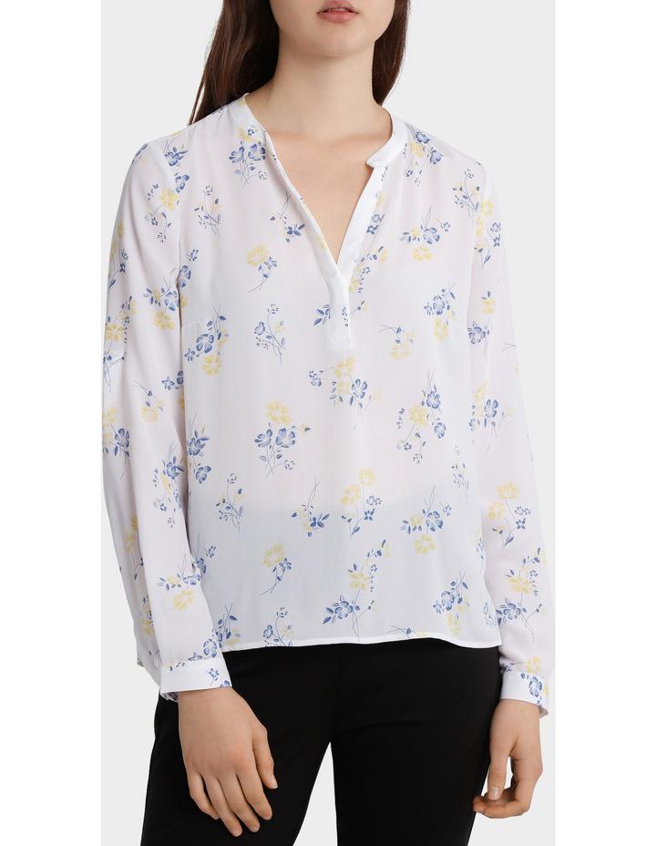 roll sleeve collarless shirt image 1