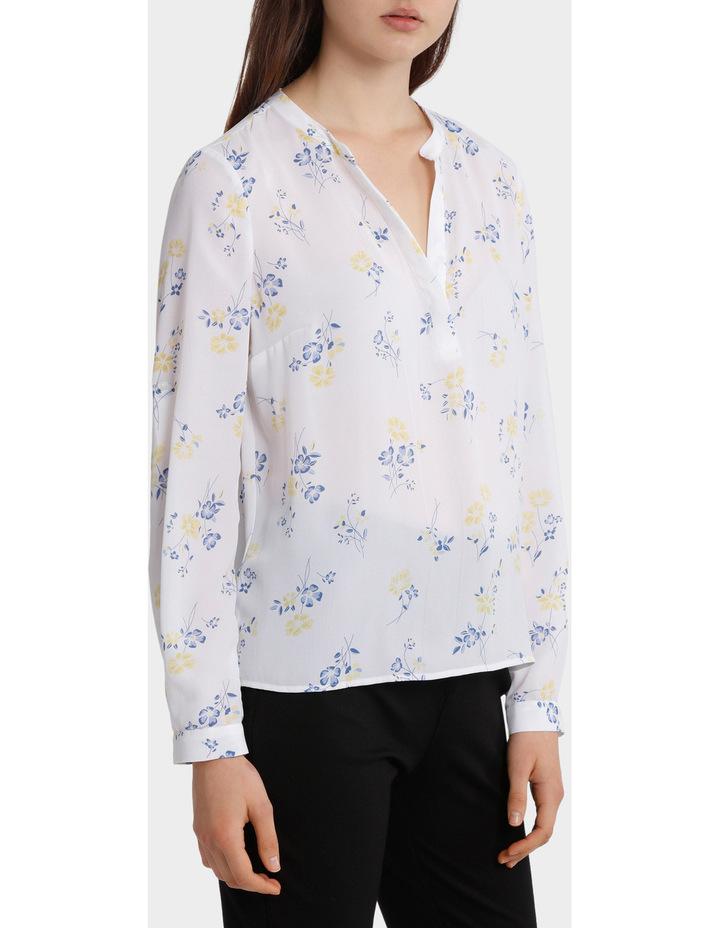 roll sleeve collarless shirt image 2