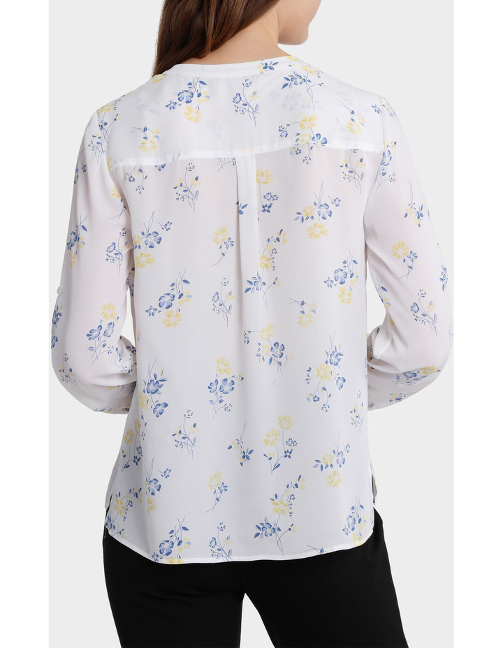roll sleeve collarless shirt image 3
