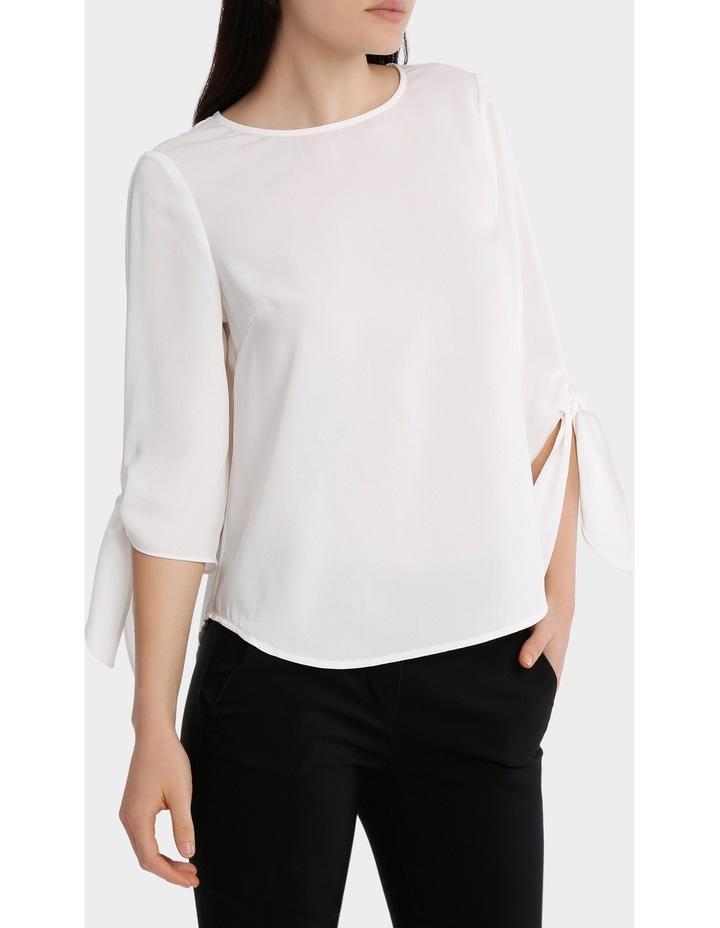 tie flute sleeve blouse image 2