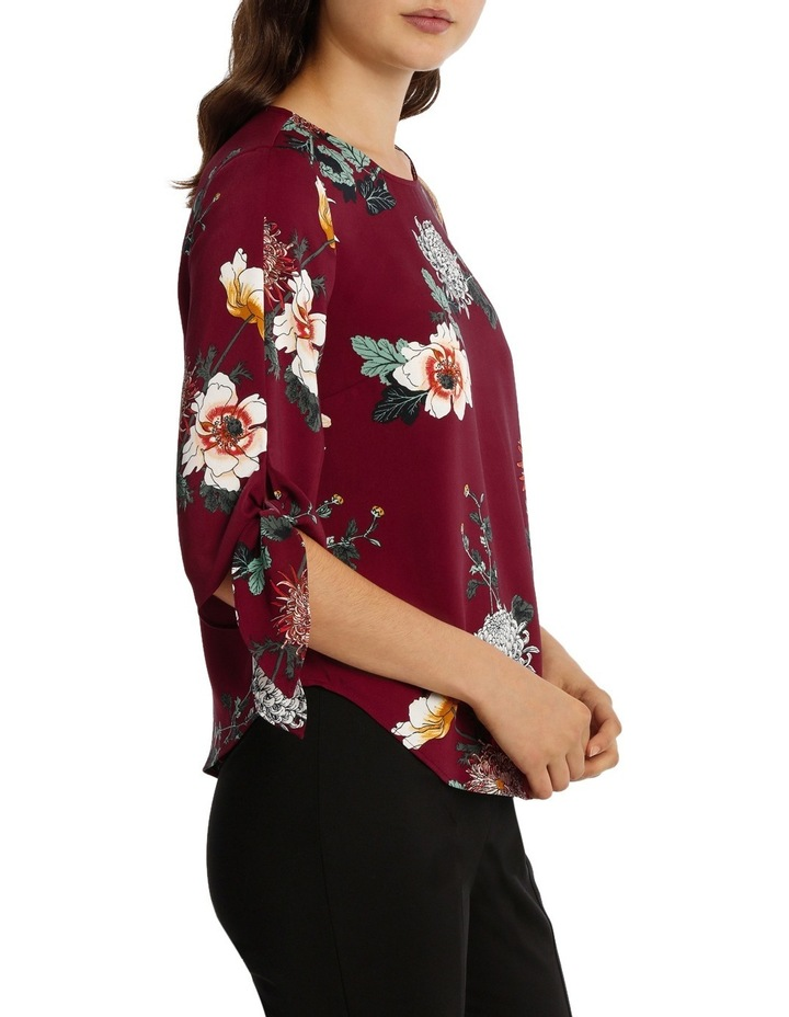 Tie Flute Sleeve Imperial Floral Blouse image 2