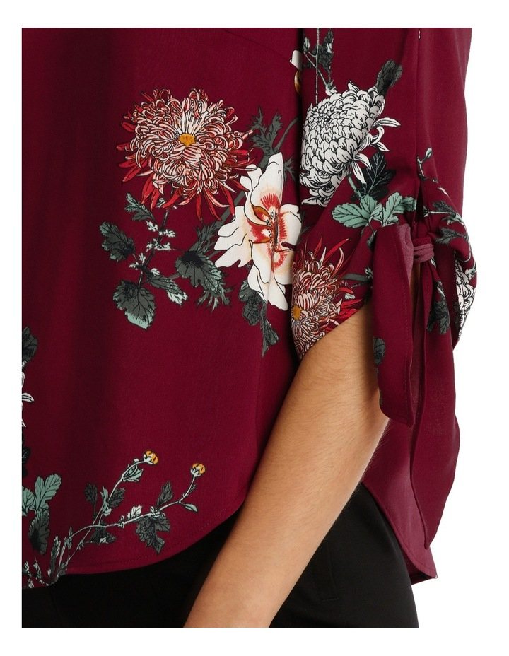 Tie Flute Sleeve Imperial Floral Blouse image 4