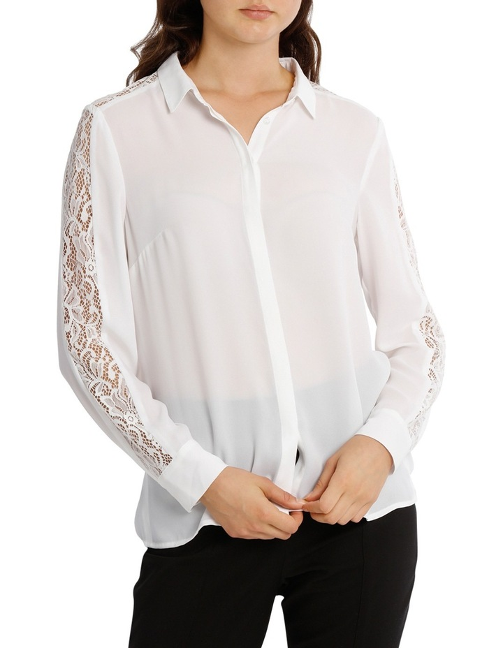 Lace Insert Button Up White Shirt image 1