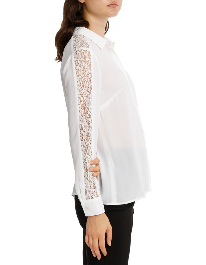 Lace Insert Button Up White Shirt image 2