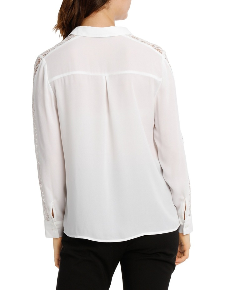 Lace Insert Button Up White Shirt image 3