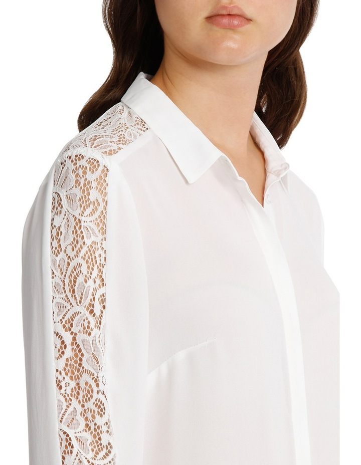 Lace Insert Button Up White Shirt image 4