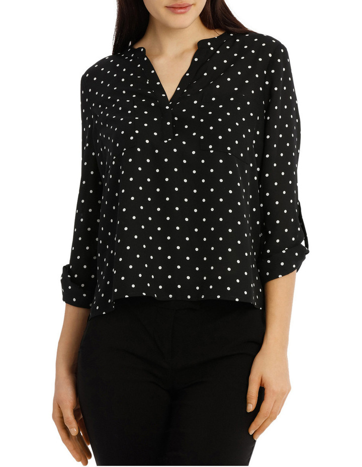 Collarless Double Pocket Shirt - Dot Print image 1