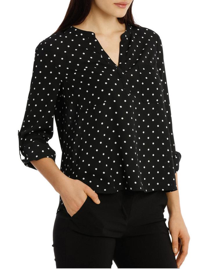 Collarless Double Pocket Shirt - Dot Print image 2