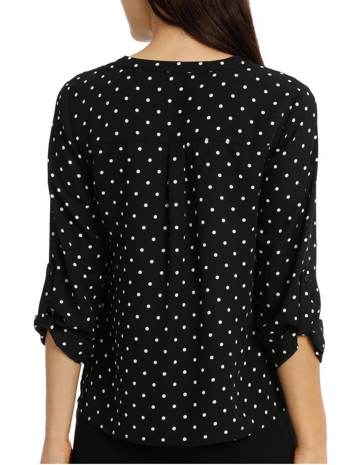 Collarless Double Pocket Shirt - Dot Print image 3