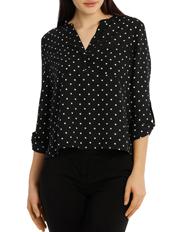 Tokito Petites - Collarless Double Pocket Shirt - Dot Print
