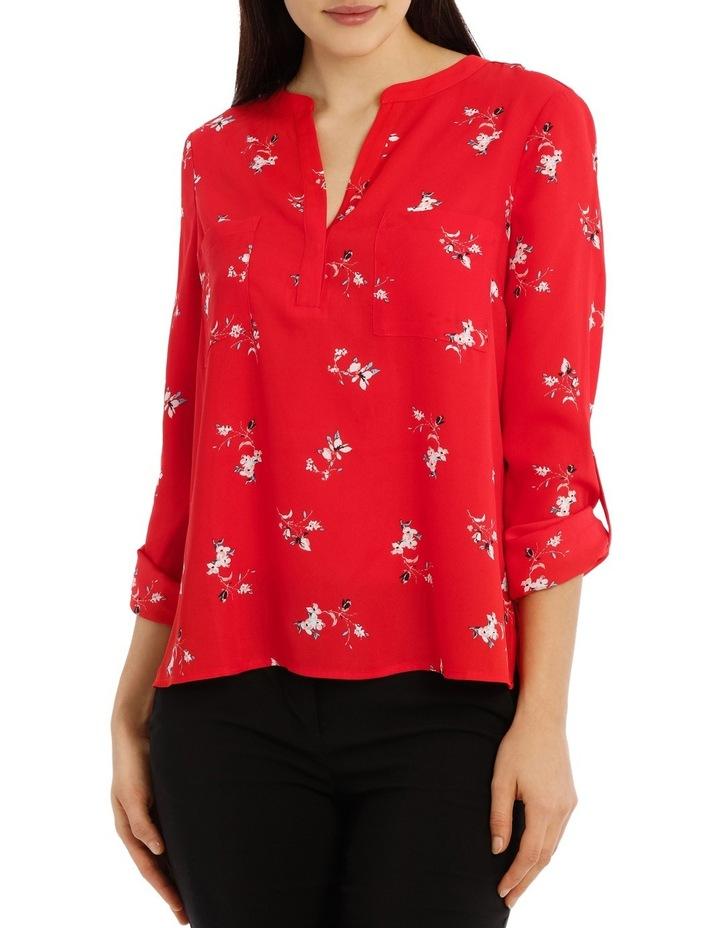 Collarless Double Pocket Shirt - Poppy Ditsy image 1