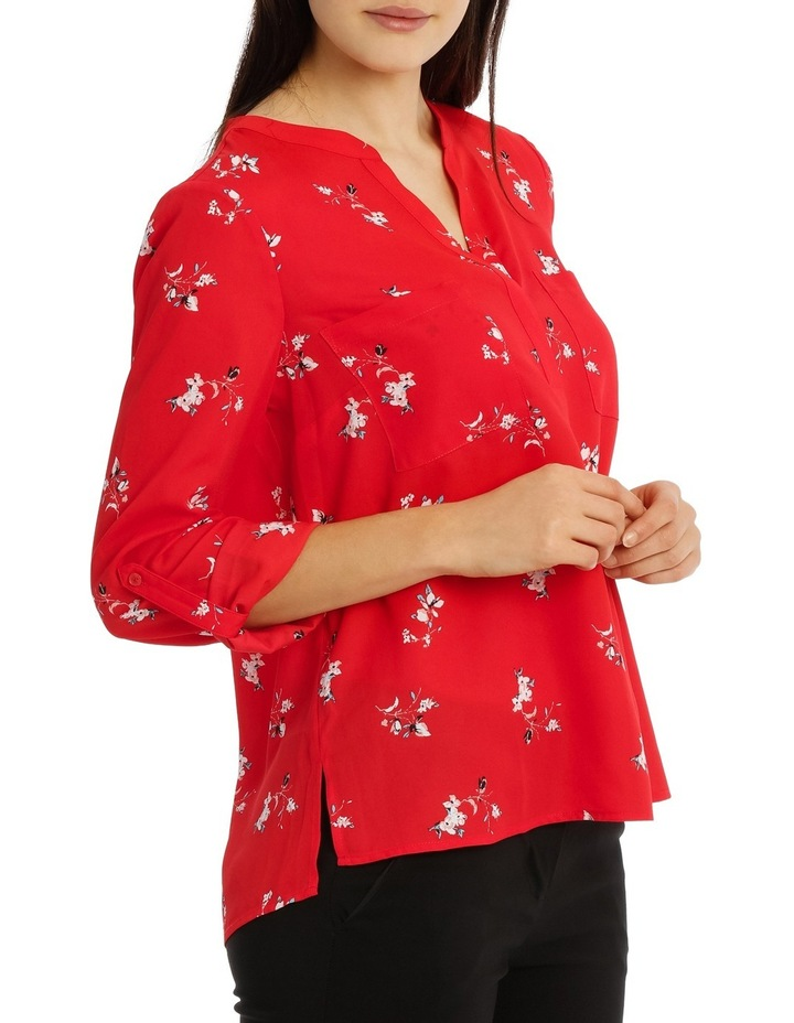 Collarless Double Pocket Shirt - Poppy Ditsy image 2