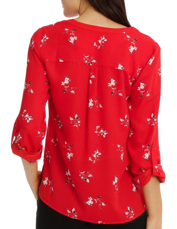 Collarless Double Pocket Shirt - Poppy Ditsy image 3