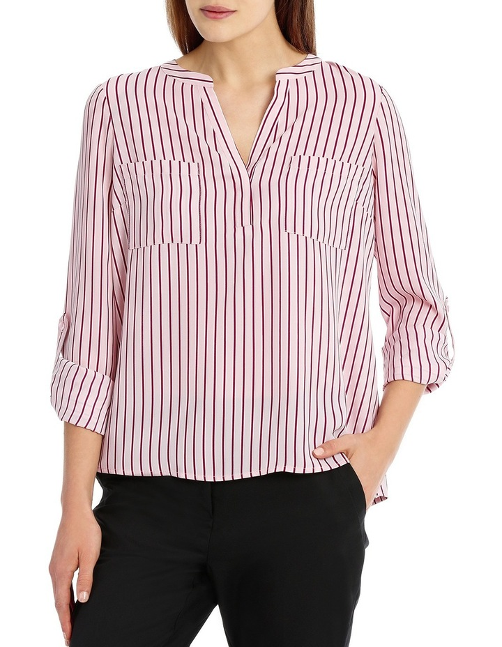 Double Pocket Roll Sleeve Shirt - Stripe image 1