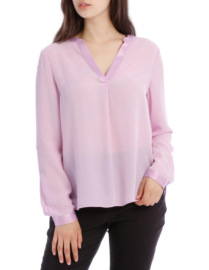 Satin Trim Roll Cuff Shirt - Lilac image 1