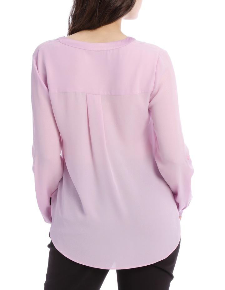 Satin Trim Roll Cuff Shirt - Lilac image 3