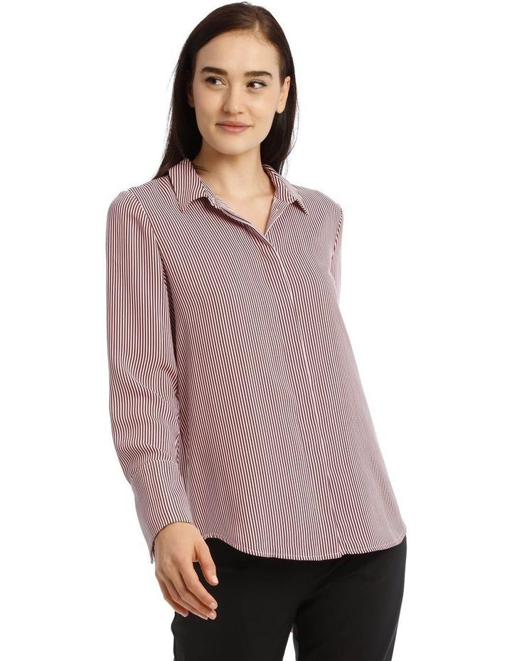 Burgundy Stripe Work Shirt image 1