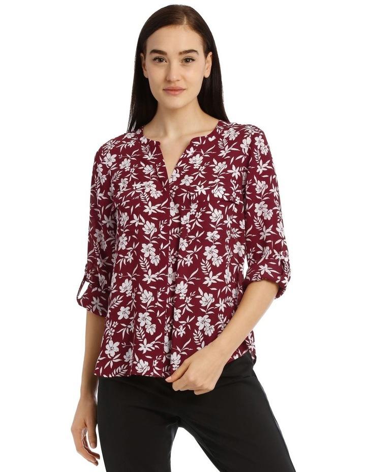 Falling Floral Button Through Collarless Shirt image 1