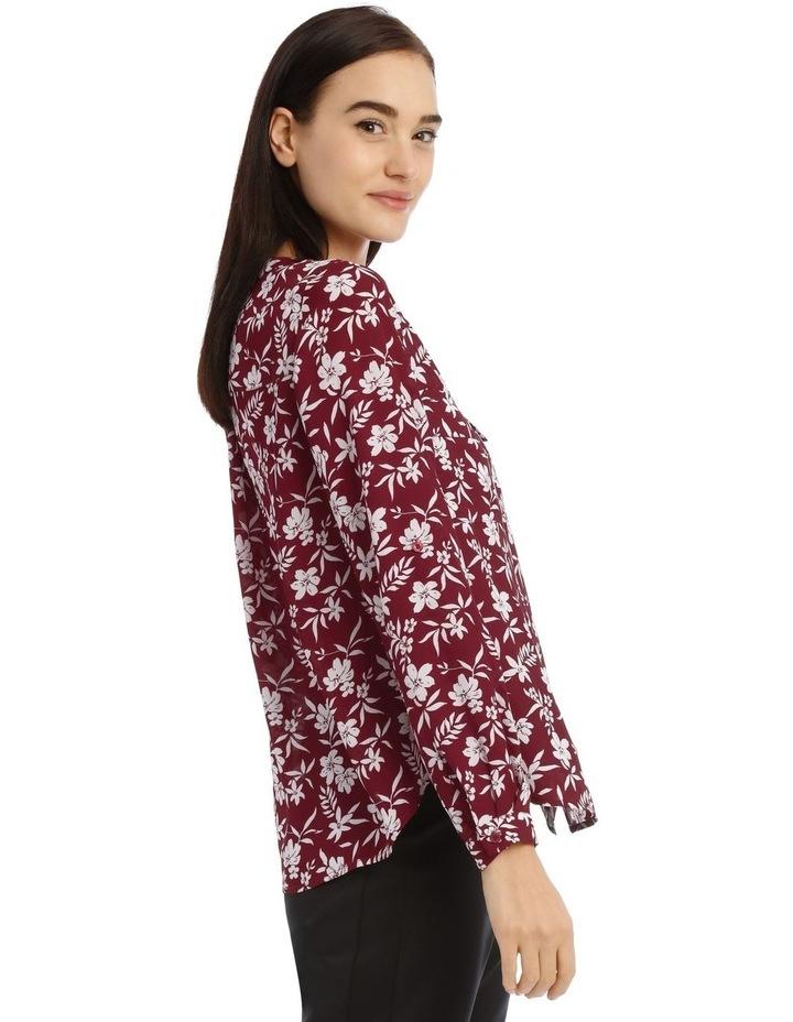Falling Floral Button Through Collarless Shirt image 2