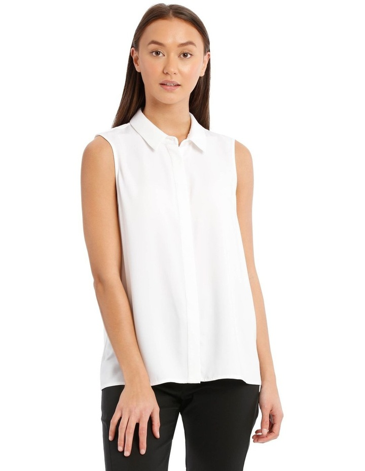 White Sleeveless Collared Shirt image 1