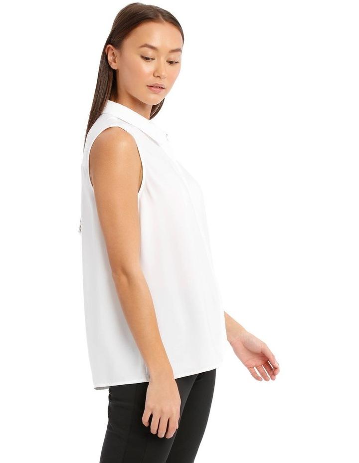 White Sleeveless Collared Shirt image 2