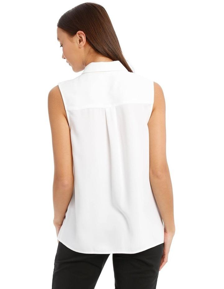 White Sleeveless Collared Shirt image 3