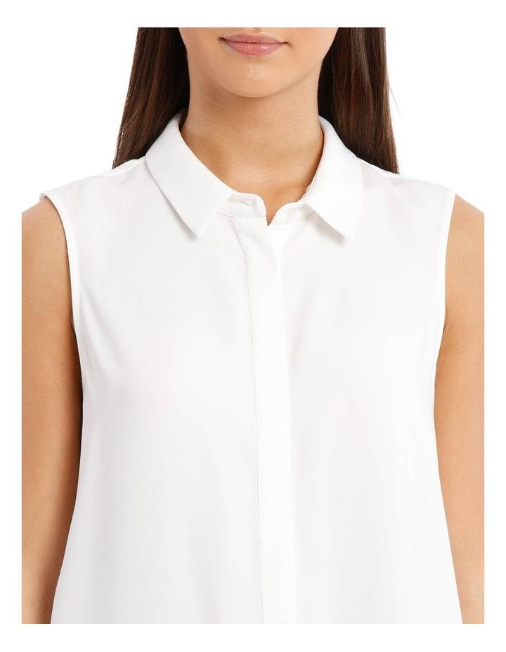 White Sleeveless Collared Shirt image 4