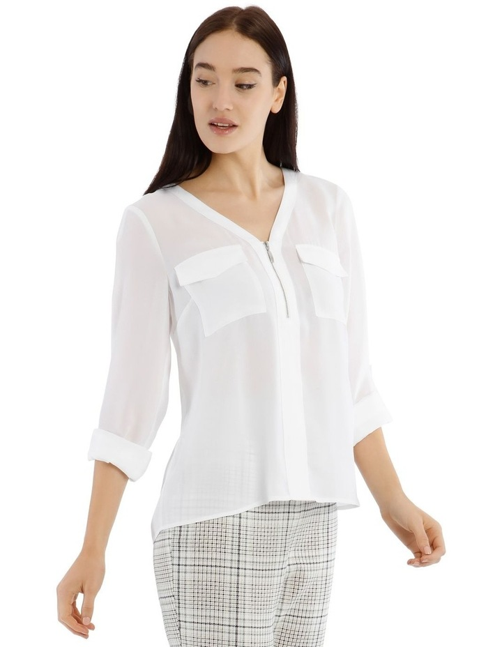 White Zip Front Shirt image 2