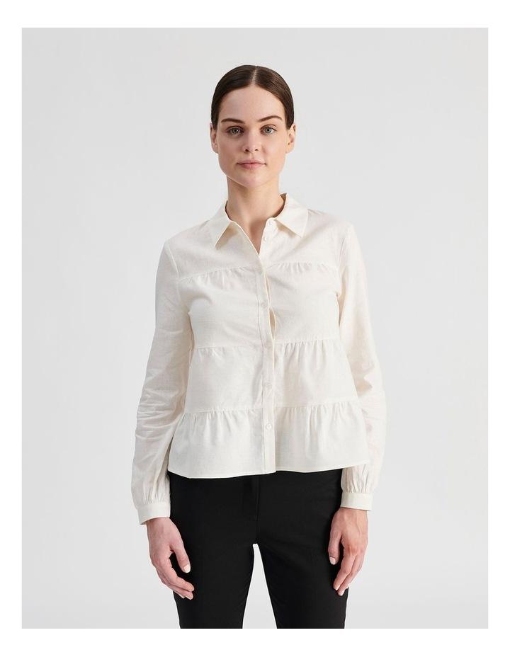 Petite Linen Blend Tiered Shirt image 1