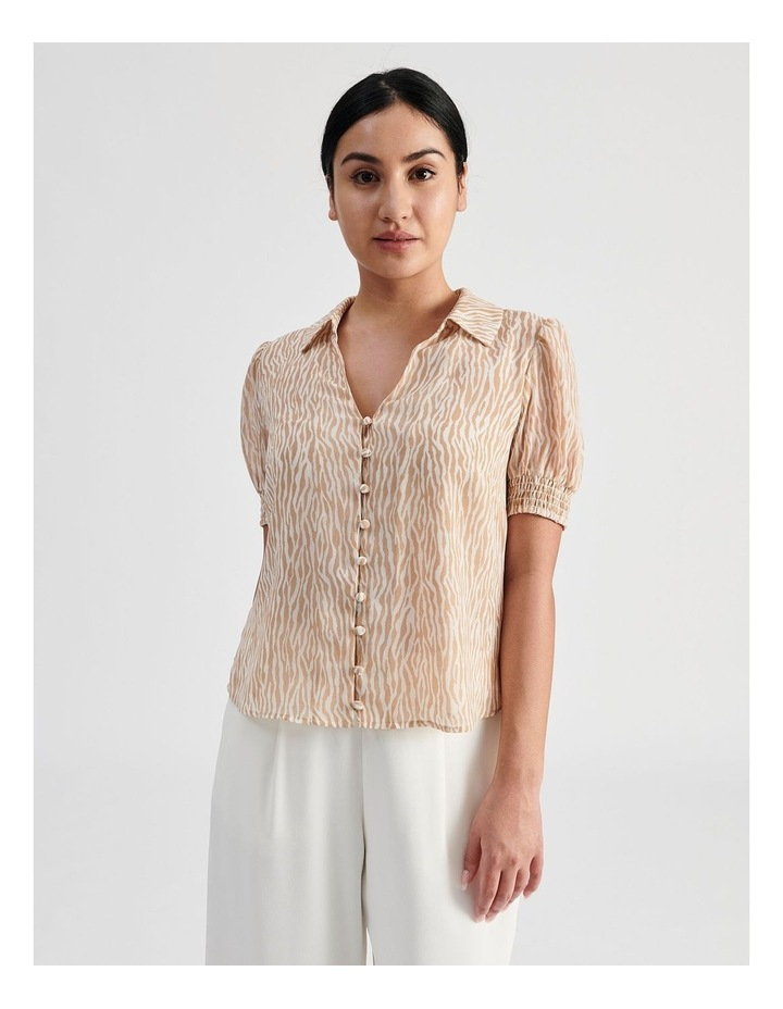 Petite Puff Sleeve Button Through Shirt image 1