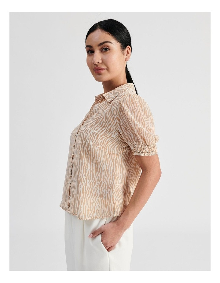 Petite Puff Sleeve Button Through Shirt image 3