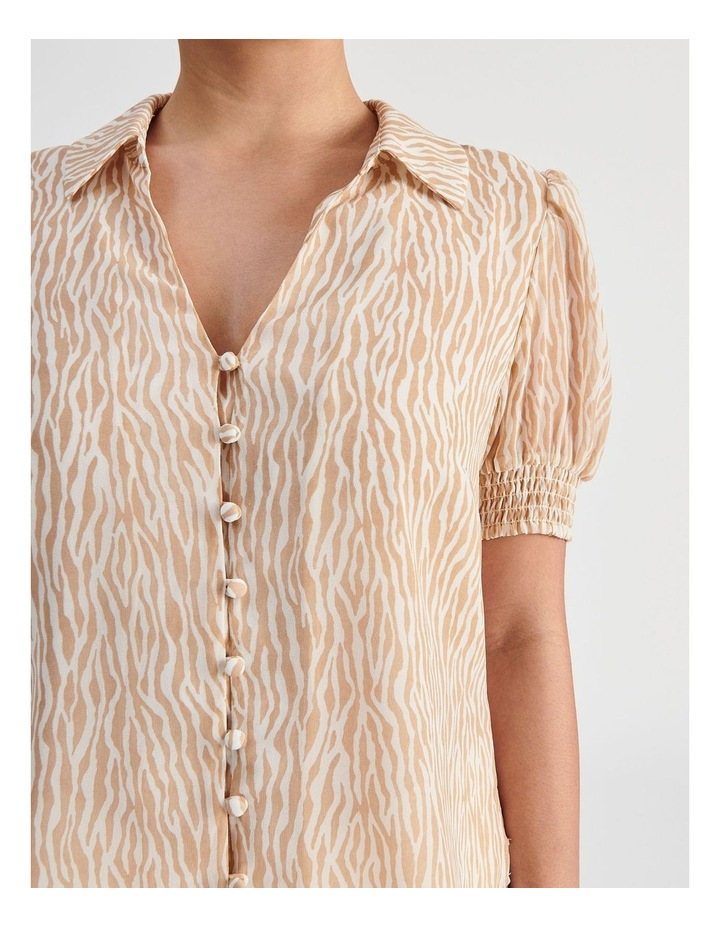 Petite Puff Sleeve Button Through Shirt image 6