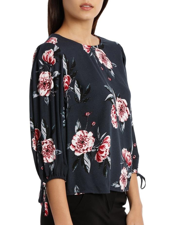Tie Sleeve Shell Top - Peony Bloom image 2