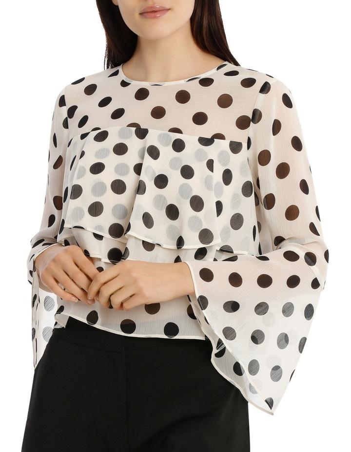 Tiered Chiffon Blouse - Polka Dot image 1