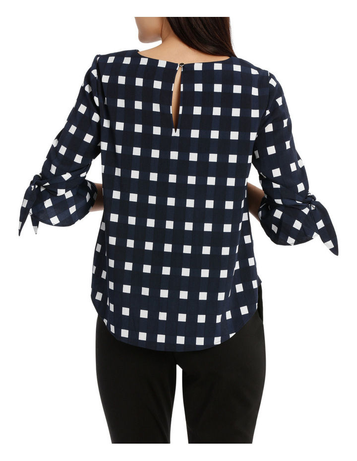Tie Sleeve Top - Window Pane Check image 3