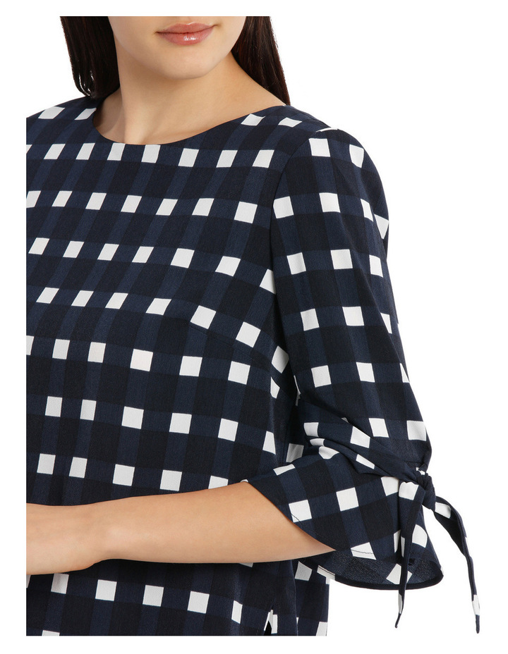Tie Sleeve Top - Window Pane Check image 4