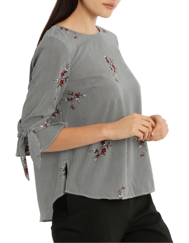 Tie Sleeve Top - Scattered Posey Stripe image 2