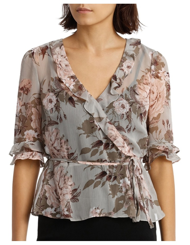 Frilly Fixed Wrap Top with Waist Tie - Large Bloom Floral image 1