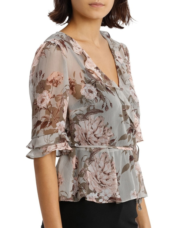 Frilly Fixed Wrap Top with Waist Tie - Large Bloom Floral image 2