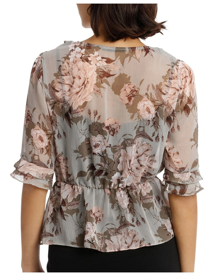 Frilly Fixed Wrap Top with Waist Tie - Large Bloom Floral image 3