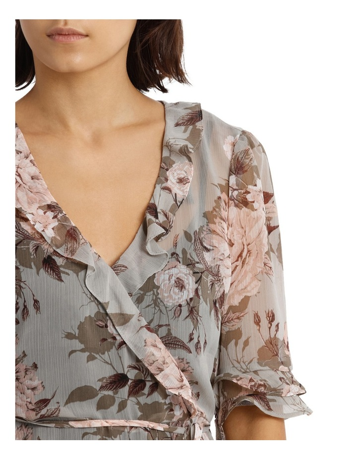 Frilly Fixed Wrap Top with Waist Tie - Large Bloom Floral image 4