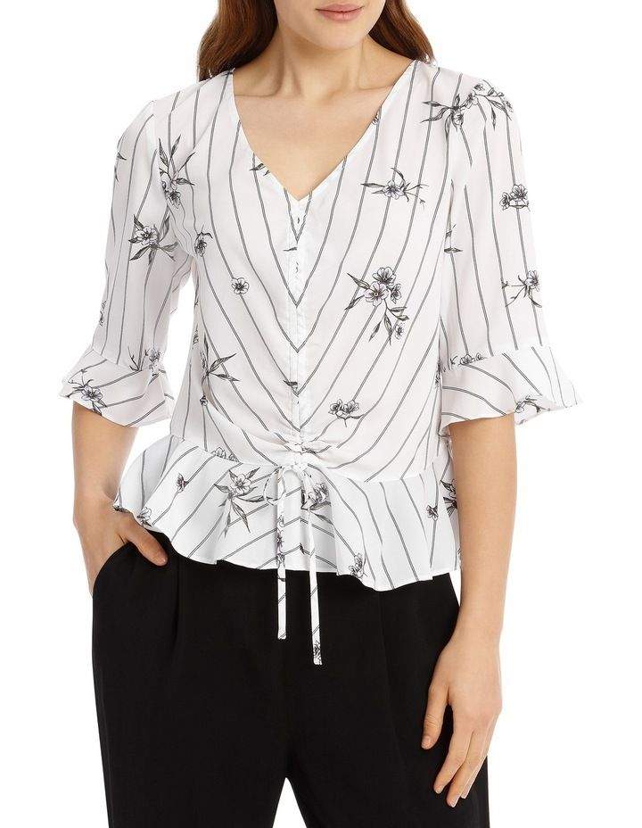 Rouched Front Frill Sleeve Top - Stripe Floral image 1
