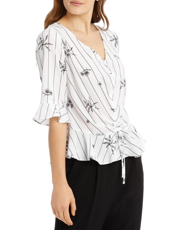 Rouched Front Frill Sleeve Top - Stripe Floral image 2