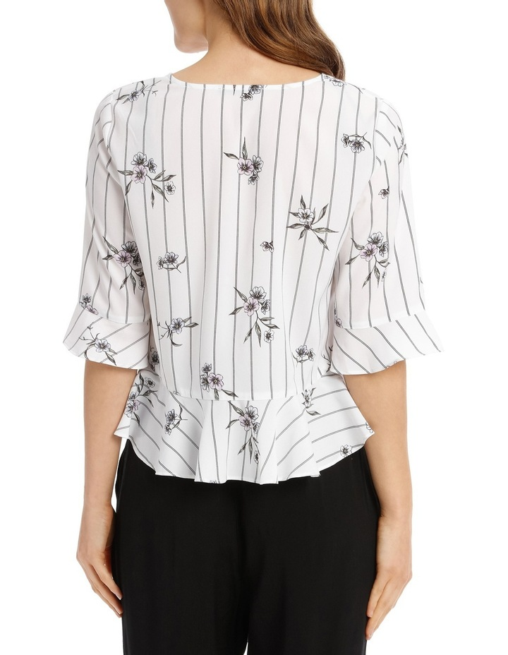 Rouched Front Frill Sleeve Top - Stripe Floral image 3