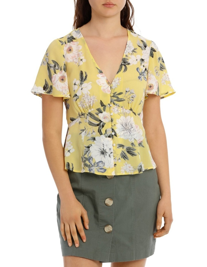 Button Up Flutter Sleeve Blouse - Large Bloom image 1