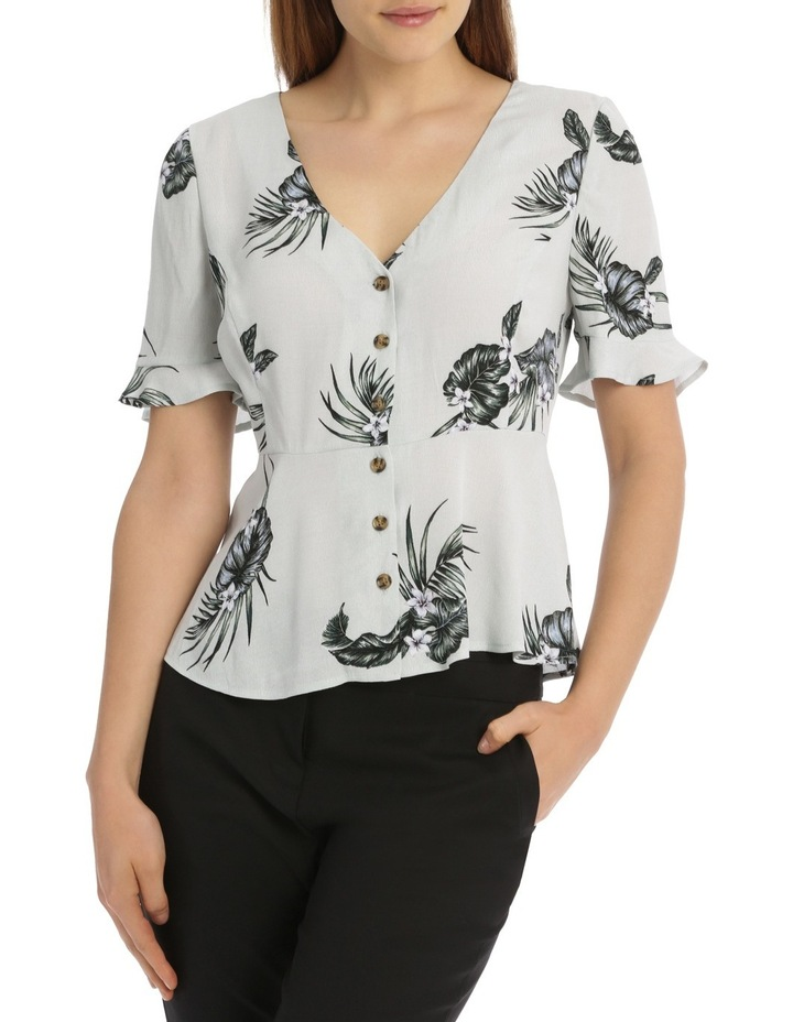 Button Up Frill Sleeve Blouse - Spaced Tropical image 1
