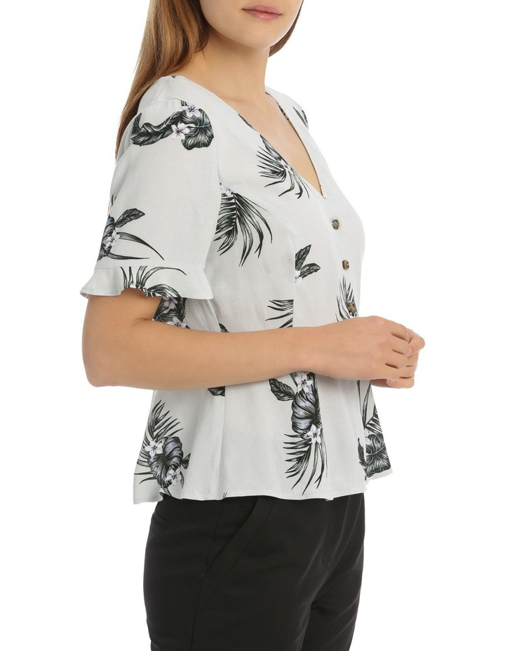 Button Up Frill Sleeve Blouse - Spaced Tropical image 2