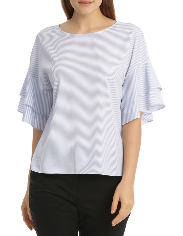 Drop Shoulder Frill Sleeve Top - Shirting Stripe image 1