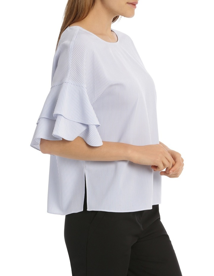Drop Shoulder Frill Sleeve Top - Shirting Stripe image 2